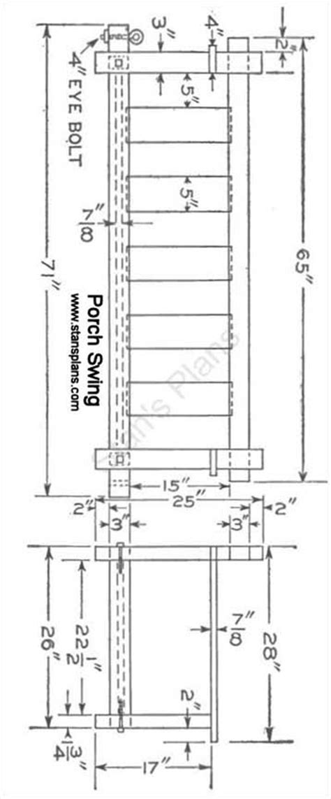 Patio Swing Blueprint Printable Plans For A Porch Swing