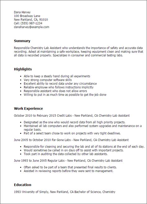 Chemistry Resume by 1 Chemistry Lab Assistant Resume Templates Try Them Now