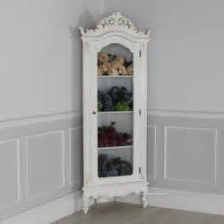 Curved Curio Cabinet French Chateau White Glazed Display Corner Cabinet