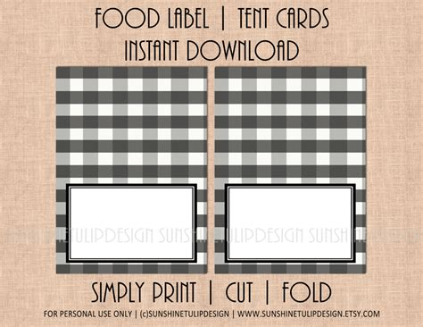 food label tent cards template printable buffalo check plaid black and white table tent cards