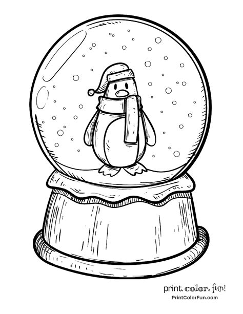 winter snow globe page coloring pages
