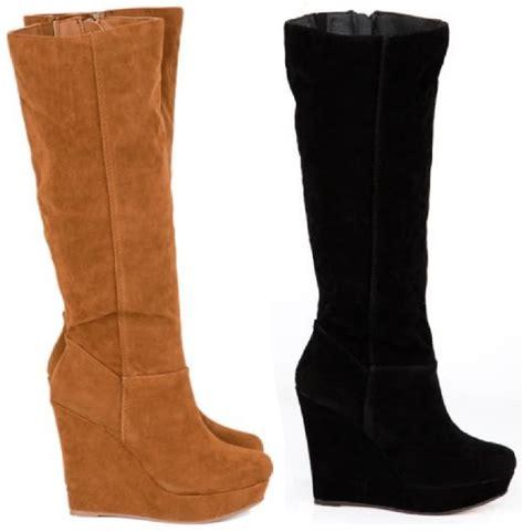 black high heel wedge boots wedge boot black suede knee high heel fastion zip