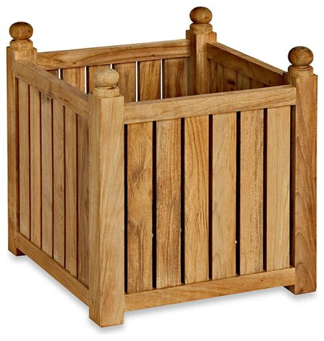 Teak Planters by Medium Teak Planter Flower Box Traditional Outdoor