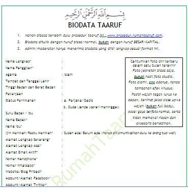 Format Biodata Untuk Narasumber | kirim biodata taaruf ke moderator rumah taaruf