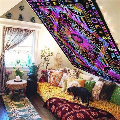 gorgeous hanging bed designed by wiktor ja wiec purple college room tie dye sun and moon tapestry wall