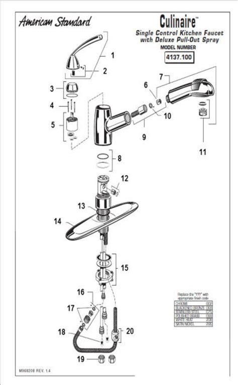pull out kitchen faucet parts american standard kitchen faucet parts diagram 1089