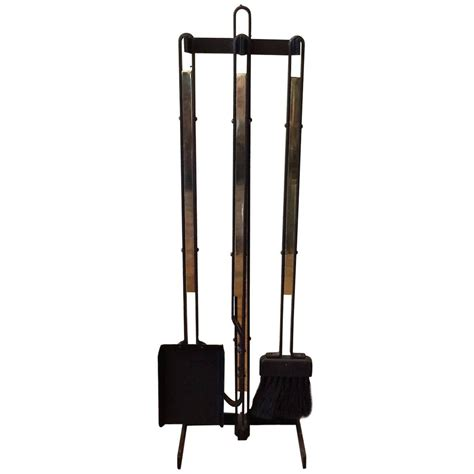 wrought iron and brass mid century modern fireplace tools