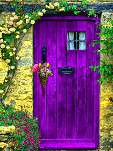 most beautiful door color purple in the garden cozy little house