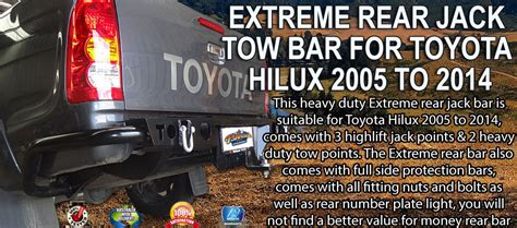 EXTREME REAR JACK TOW BAR FOR TOYOTA HILUX 2005 TO 2014