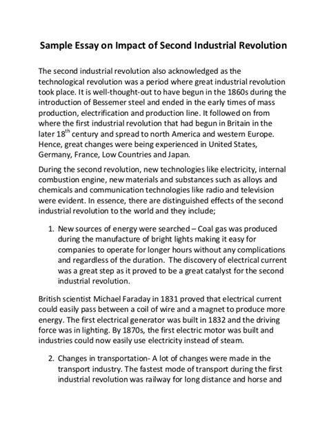 The Industrial Revolution Essay by Sle Essay On Impact Of Second Industrial Revolution