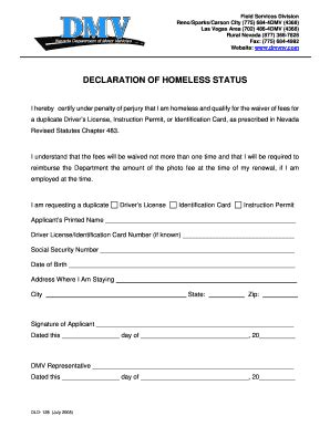 Proof Of Homelessness Letter Sle Declaration Of Homelessness Florida Dmv Fill Printable Fillable Blank Pdffiller