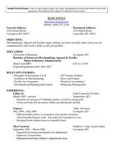 Sle Resume Letter Objective Fashion Sales Manager Sle Resume Business Management