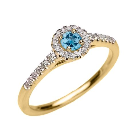 Topaz 5 18ct 0 18ct blue topaz and halo engagement ring in 9ct