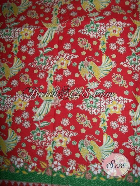 Kain Brukat Kode 267 kain batik motif burung warna merah untuk seragam batik pegawai swasta k1249p toko batik