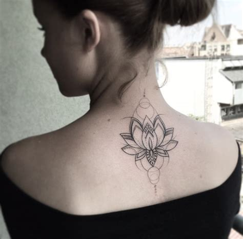 40 beautiful back neck tattoos for women lotus flower