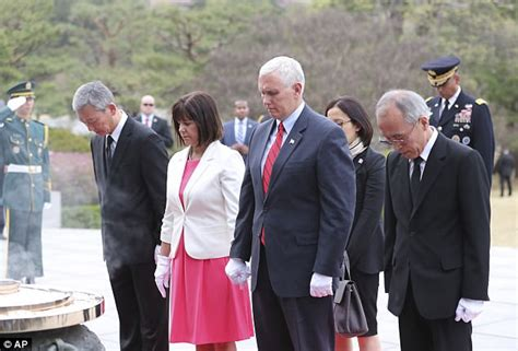 pence and wife to get tour of new digs mike pence arrives in seoul with family in tow on easter