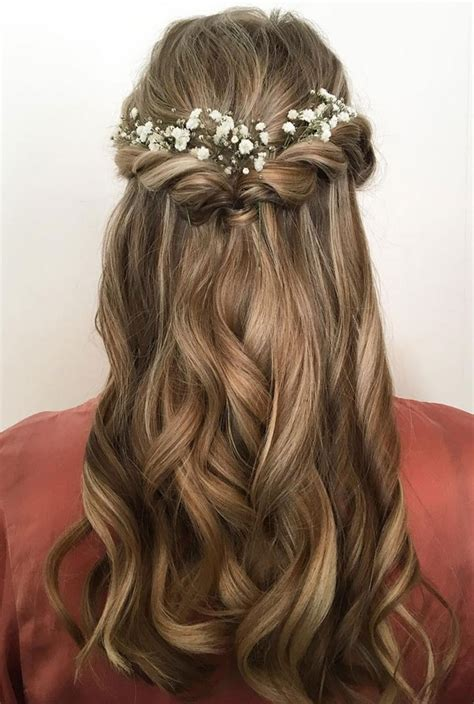 wedding hairstyles half up half down with flowers 15 chic half up half down wedding hairstyles for long hair