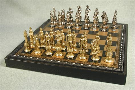 metal chess set florence metal leather chess set with storage compartment