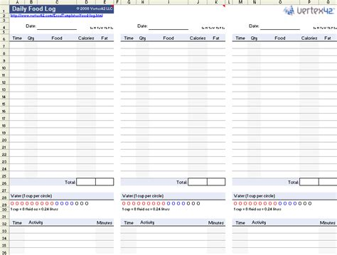 nutrition spreadsheet template the daily food log template from vertex42