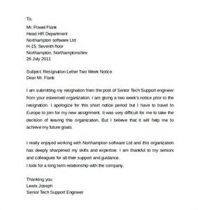 Resignation Letter Qa Engineer Sle Resignation Letters 2 Week Notice 8 Free Documents In Pdf Word
