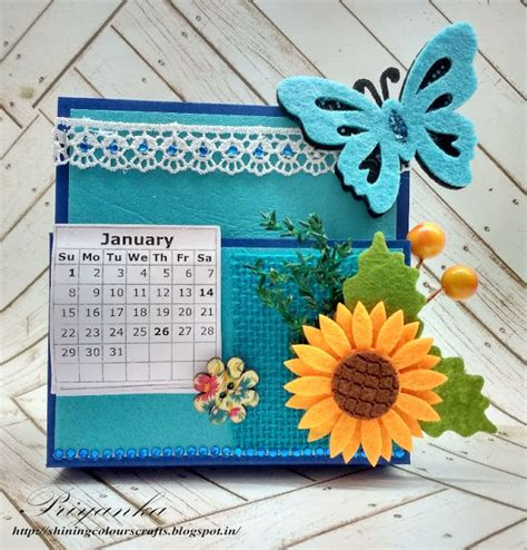Handmade Calendar - shining colours handmade crafts desk calendar notes holder
