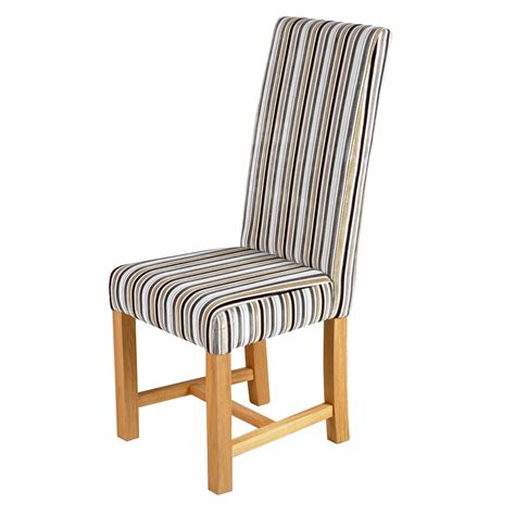 Fabric Dining Chairs Uk Kensington Traditional Dining Chair With Oak Legs Silver Stripes