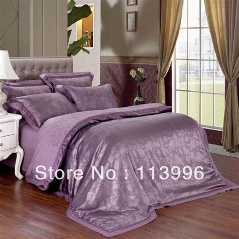 expensive purple jacquard satin embroidered bedding
