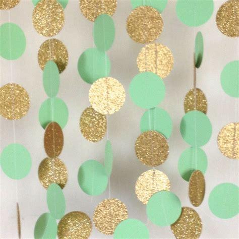 Mint Green and Gold Garland, Paper Garland, Mint Garland