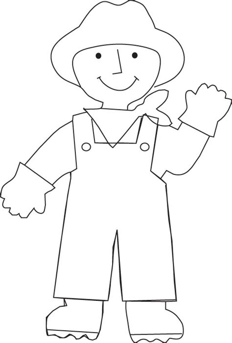 Farmer Overalls Page Coloring Pages Farmer Template Preschool