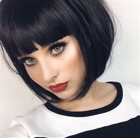 dark brunette bob haircut with wispy bangs and tucked 25 best ideas about short black hair on pinterest black