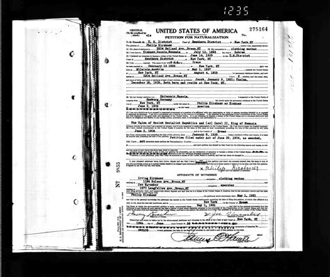New York Family Court Records United States Naturalization Records Kirshner Family