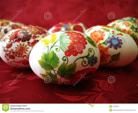 beautiful easter eggs on red stock photos image 2195993