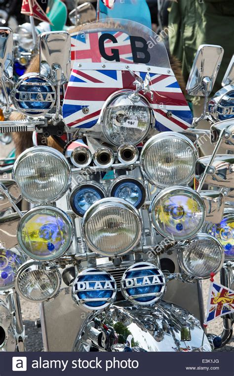 Patch Vespa Lambretta Logo Mods Union Flag Britian mods vespa custom scooter with mirrors lights logos and union stock photo royalty free