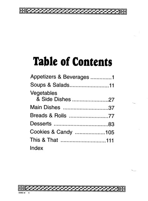 cookbook sections cookbook sections free printable table contents template