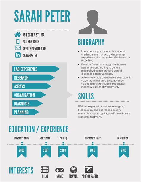 Infographic Resume Builder by Infographic Resume Template Venngage Graphic Timeline