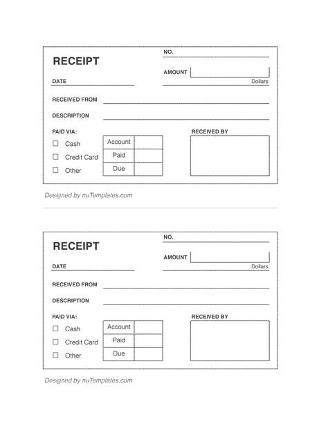 blank receipts template for home inspectors blank receipt template blank receipts nutemplates