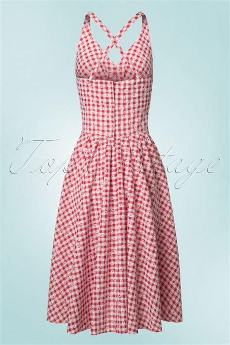 daisy swing dress 50s margita daisy swing dress in red