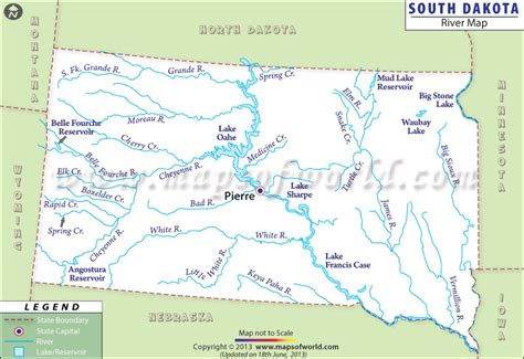 south dakota in usa map south dakota rivers map rivers in south dakota