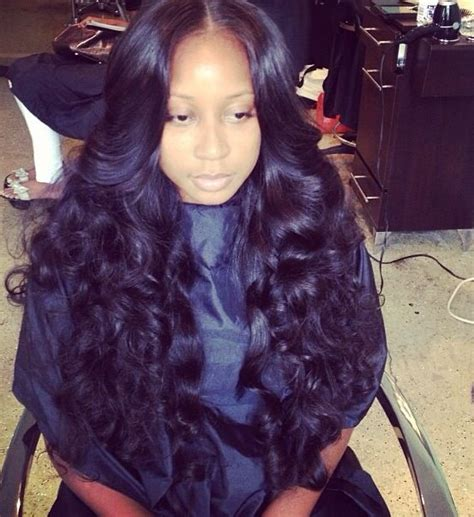 part in the middle sew in flat middle part sew in with curls h a i r pinterest