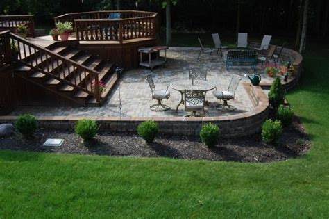 deck to patio transition deck to stone patio transition backyard garden pinterest wood decks decks and backyards