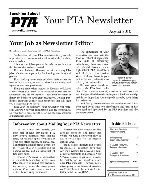 12 sle pta newsletter templates pto pta newsletter