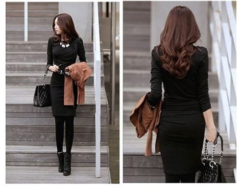 Dress Dress Korea Dress Hitam Black Dress Hitam Black Salur dress korea hitam panjang selutut model terbaru jual