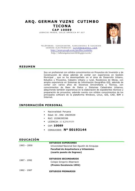 Modelo De Curriculum Vitae No Documentado Peru Curriculo