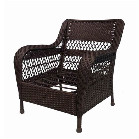 Shop Garden Treasures Glenlee Textured Brown Steel Strap Lowes Patio Chair