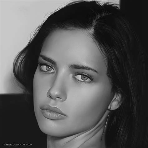adriana lima portrait by tonekid on deviantart