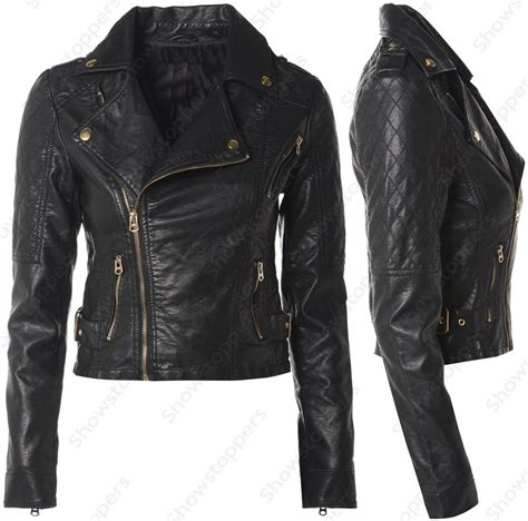 leather bike black ladies leather jacket coat nj