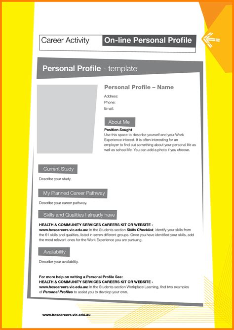 8 personal profile template address exle