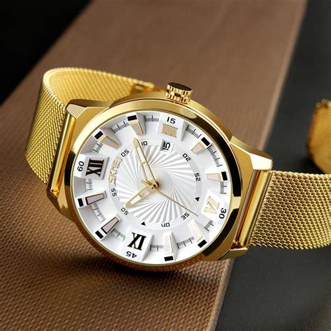 Jam Tangan Golden Stainless Steel Analog Quartz Brace skmei jam tangan analog pria stainless steel 9166