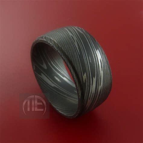 wide damascus steel ring wedding band genuine