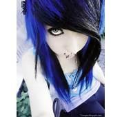 Emo Girl Scene Blue Hair Cute Brunette Pretty